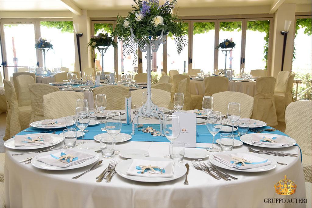 catering allestimenti tavolo azzurro