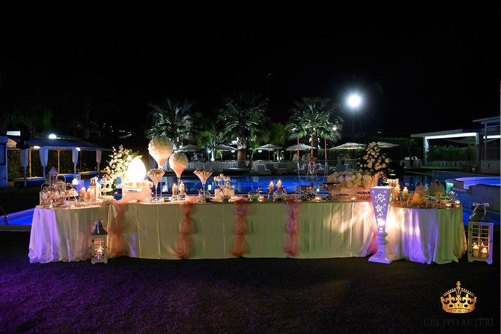 catering allestimenti tavolo piscina